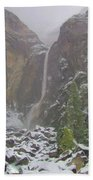 Winter Lower Yosemite Falls Beach Towel