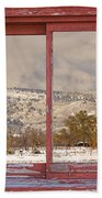 Winter Rocky Mountain Foothills Red Barn Picture Window Frame Ph Beach Towel
