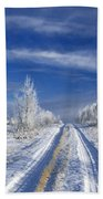 Winter Rural Road Beach Towel