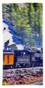 Winter Train Beach Towel