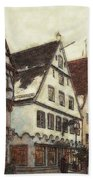 Winterly Old Town Beach Towel by Jutta Maria Pusl