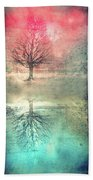Winter's Reds And Blues Beach Towel