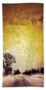 Wintery Road Sunrise Beach Towel by Jill Battaglia