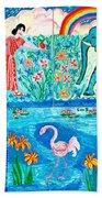 Woman And Blue Elephant Beside The Lake Beach Towel