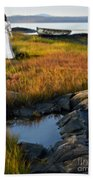 Woman By Boat On Grassy Shore Beach Towel