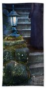 Woman In Dark Gown On Old Staircase Beach Towel