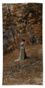 Woman In Green Gown  Beach Towel