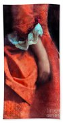 Woman In Red 18th Century Gown Beach Towel