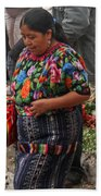 Woman In Traditional Guatemalan Dress Beach Towel