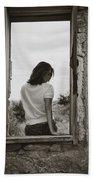 Woman In Window Beach Towel