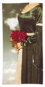Woman With Roses Beach Towel by Joana Kruse