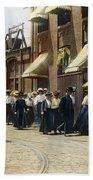 Women Leaving Work, 1895 Beach Towel