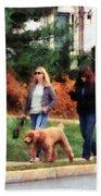 Women Walking A Dog Beach Sheet