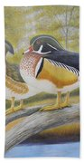 Wood Duck Pair At The Lake Beach Towel