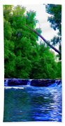 Wooded Waterfall Beach Towel by Bill Cannon