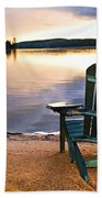Wooden Chair At Sunset On Beach Beach Towel
