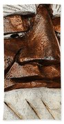 Wooden Head With Cigarette Beach Towel