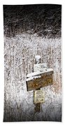 Wooden Sign In Winter By The Yankee Springs Recreation Area In Michigan Beach Towel