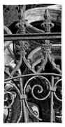 Wrought Iron Gate And Pots Black And White Beach Sheet