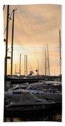 Yachts At Sunset Beach Towel by Carlos Caetano
