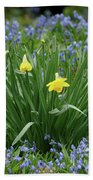 Yellow And Blue Flowers Beach Towel