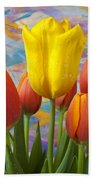 Yellow And Orange Tulips Beach Sheet