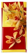 Yellow And Red Orchids  Beach Towel