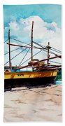 Yellow Boat Docking On The Shore Beach Towel