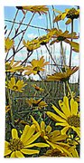 Yellow Flowers By The Roadside Beach Towel