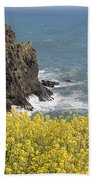 Yellow Flowers On The Northern California Coast Beach Towel