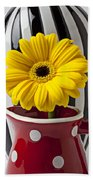 Yellow Mum In Pitcher  Beach Towel