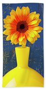 Yellow Mum In Yellow Vase Beach Towel