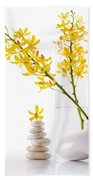 Yellow Orchid Bunchs Beach Towel by Atiketta Sangasaeng