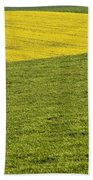Yellow Rapeseed Growing Amongst Green Beach Towel