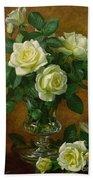 Yellow Roses Beach Towel by Albert Williams