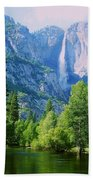 Yosemite Falls And Merced River Beach Towel