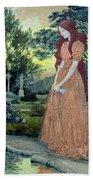 Young Girl In A Garden  Beach Towel