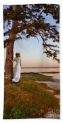 Young Lady In Edwardian Clothing By The Sea Beach Towel