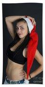 Young Woman Wearing Santa Hat Beach Towel