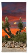 Yucca Blooming Sunset-moonset Beach Towel