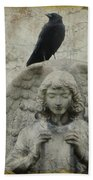 Zen Crow On Stone Angel Beach Towel