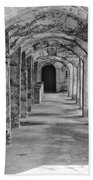Archway At Moravian Pottery And Tile Works In Black And White Beach Towel