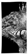 Black And White Iguana Art - One Cool Dude 2 - Sharon Cummings Beach Towel