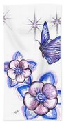 Butterfly Amongst The Flowers Beach Towel