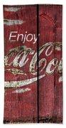 Coca Cola Sign Barn Wood Beach Towel
