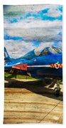 Hawker Hunter T7 Aircraft On Wood Beach Towel