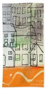 Houses By The River Beach Towel by Linda Woods