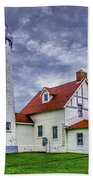 Lighthouse At Point Iroquois Beach Towel
