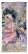 Madame Renoir And Her Son Pierre Beach Towel by Pierre Auguste Renoir