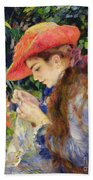 Marie Therese Durand Ruel Sewing Beach Towel by Pierre Auguste Renoir
